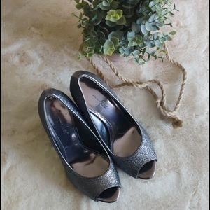 Jacqueline Ferrari peep toe sparkle heels